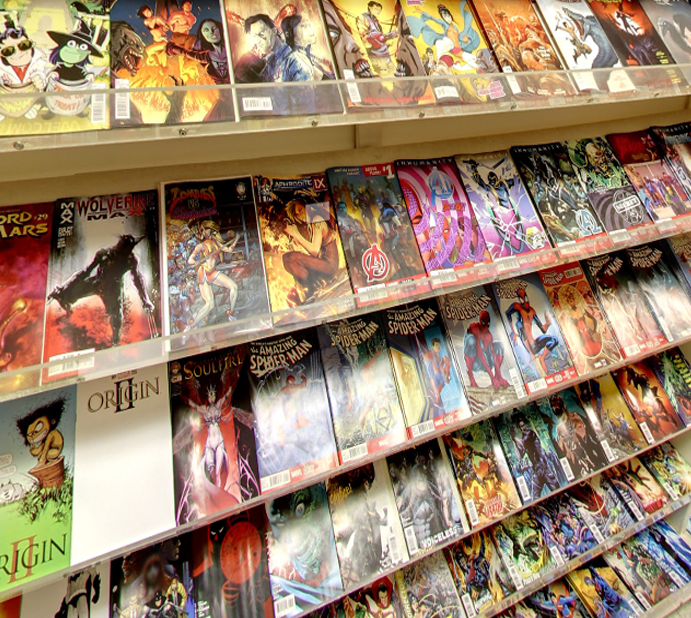 Photo of the Comic Section inside Parkers Records and Comics