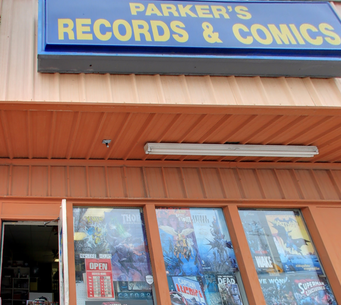 Picture of the outside of Parkers Records and Comics